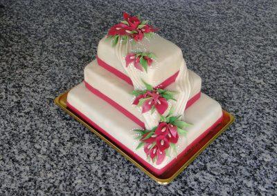 Piros virág torta